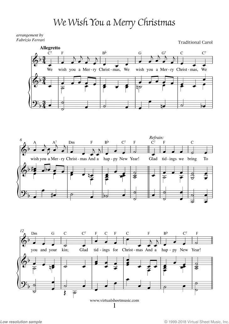Wir wünschen Ihnen frohe Weihnachten Noten für Klavier, Gesang oder andere Instrumente   – Christmas Sheet Music
