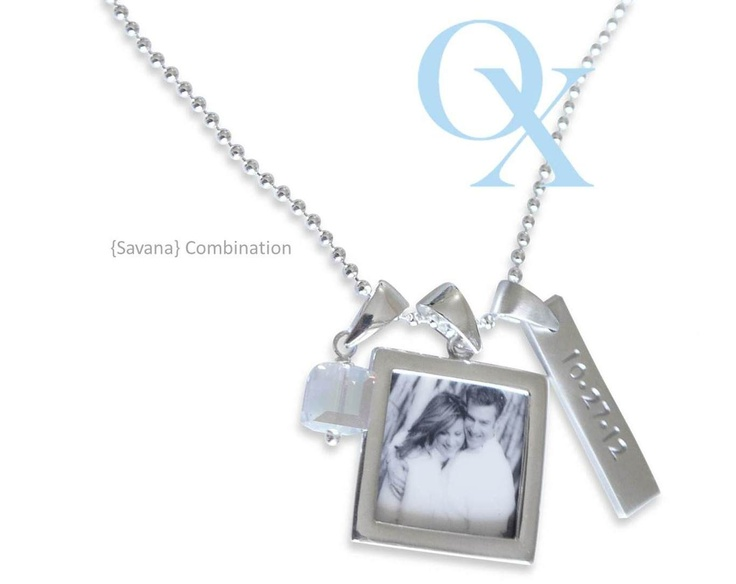 Savana Combination- our petite casual girl chain with a sm. everyday rectangle which is fully customizable, along with a sm double sided photo pendant, and our NEW medium swarovski square. A beautiful necklace to wear every day! www.lovelinx.ca