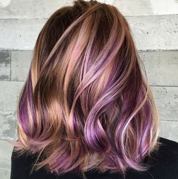 Golden Hair With Holographic Dark Pastel Purples Lovely