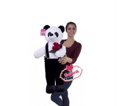 Oyuncak Peluş Panda Çiçek Buketli 80 cm