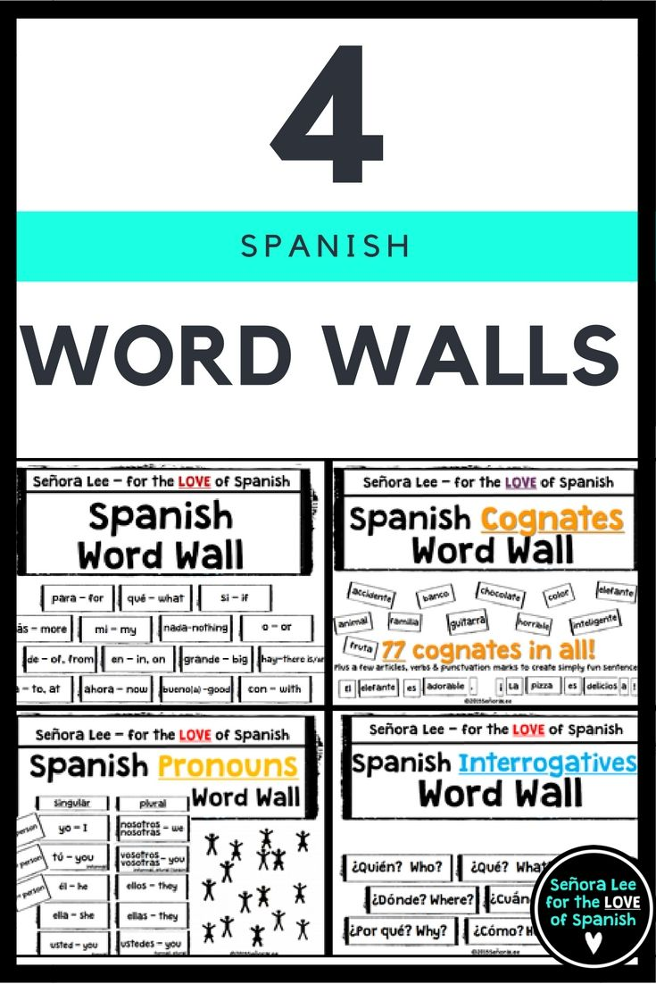 """4 Word Walls in PowerPoint: 60 Most Useful Words in Spanish (32 pages) 77 Spanish Cognates (22 pages) Spanish Pronouns (10 pages) Spanish Interrogatives (7 pages) What teachers are saying: """"Perfect perfect!!! Just what I was looking for. Laminating and hope to use for years to come!"""""""