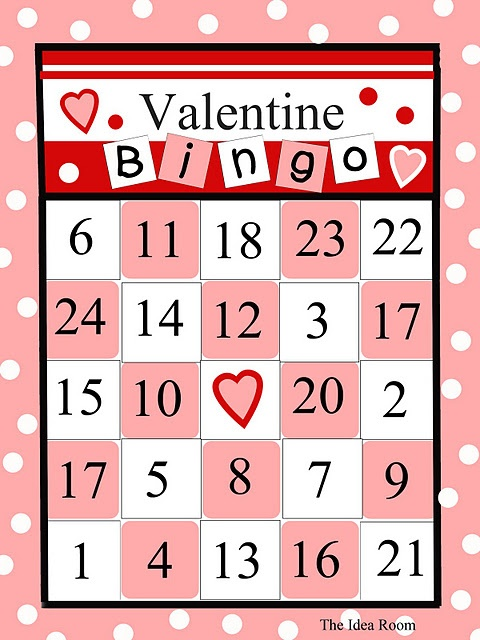 */ {Freebie} Cute Valentines Day Bingo Game-Perfect for home or for school parties-Especially is you use M's for the markers. Fun Fun Fun--Perfect for AWANA fancy Valentine's game!