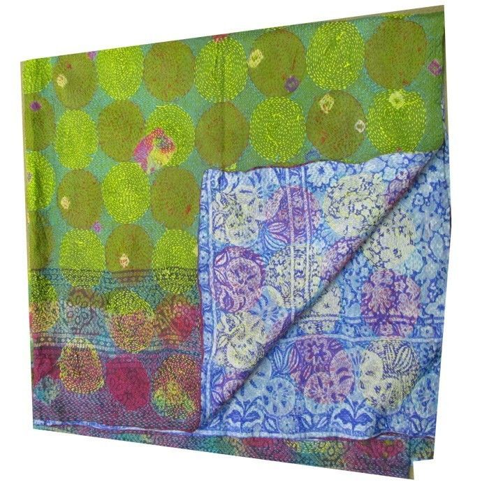 Vintage Silk Hand Quilted Kantha Circle Work Stoles Reversible Shawl Scarf 234