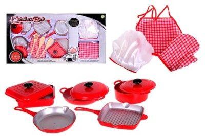 Zestaw akcesoria kuchenne garnki patelnia fartuch