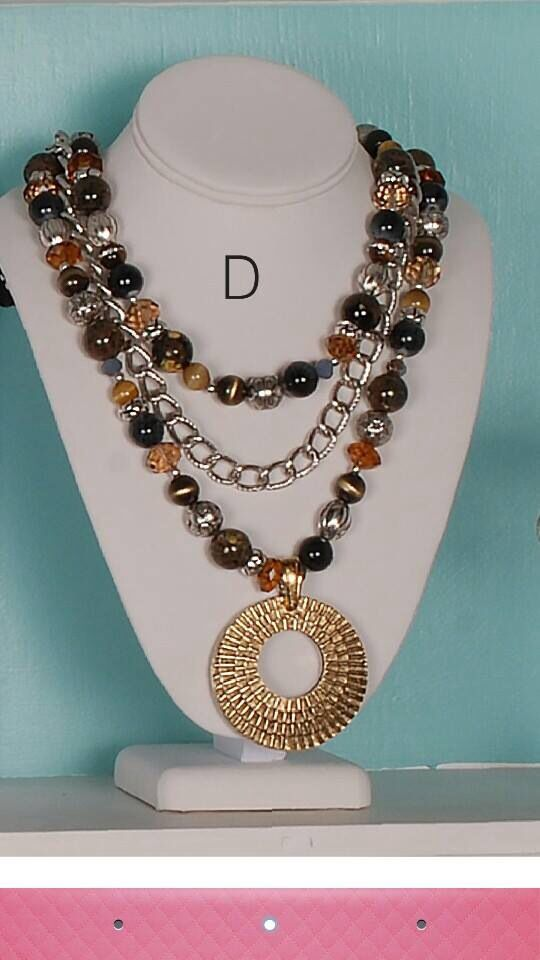 """Top Notch necklace """"signature piece only available until July 2015""""  Premier Designs 2014-2015 Fall line!  Reversible enhancer... silver on one side, gold on other."""