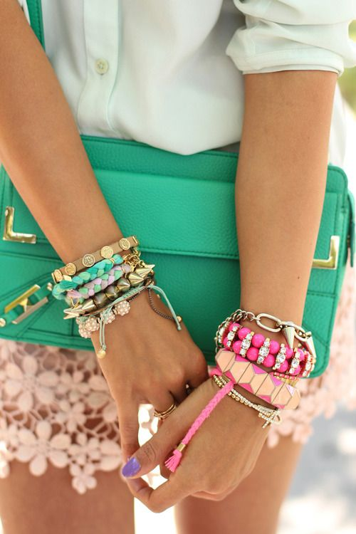This screams happy: Pastel, Arm Candy, Style, Bracelets, Spring Colors, Clutches, Accessories, Bags, Arm Parties