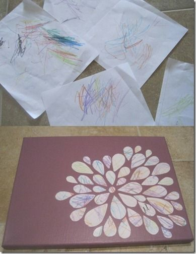 Wall art from toddler scribble.