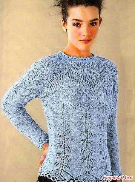 Нежный пуловер реглан спицами
