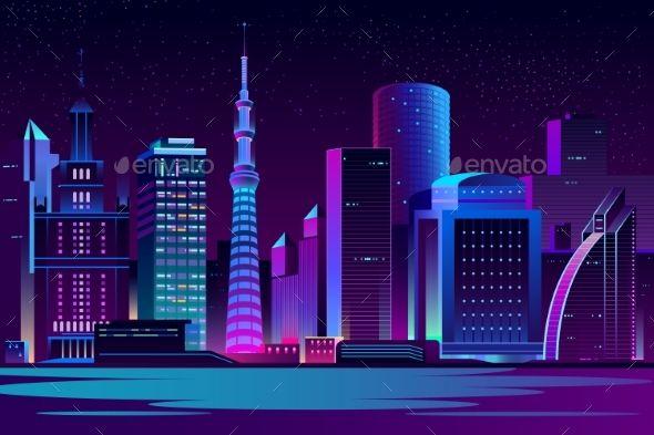 Night City Futuristic Landscape Vector Background Night City Landscape Background City Cartoon