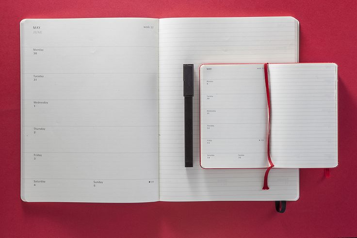 Weekly Notebook Planner: the week on the left, a ruled page on the right.