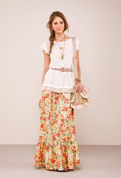 A soft country, cottage style. It's nearly perfection. I'd wear it with leather boots or brown gladiator sandals, haha. :)
