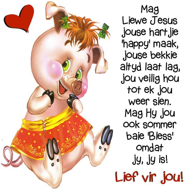 Mag Liewe Jesus jouse hartjie 'happy' maak, jouse bekkie altyd laat lag, jou veilig hou tot ek jou weer sien. Mag Hy jou ook sommer baie 'Bless' omdat jy, jy is! Lief vir jou!
