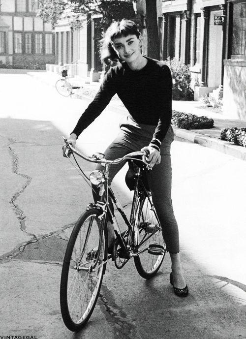 AudreyHepburnon the set of Sabrina, photographed by Mark Shaw, 1953