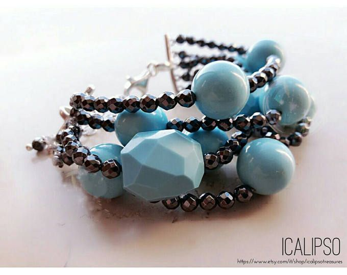 Bracciale turchese per donne, moglie perla gioielli, regalo gioielli unici per le donne, migliore amico regalo bracciale sorella regalo compleanno mamma braccialetto