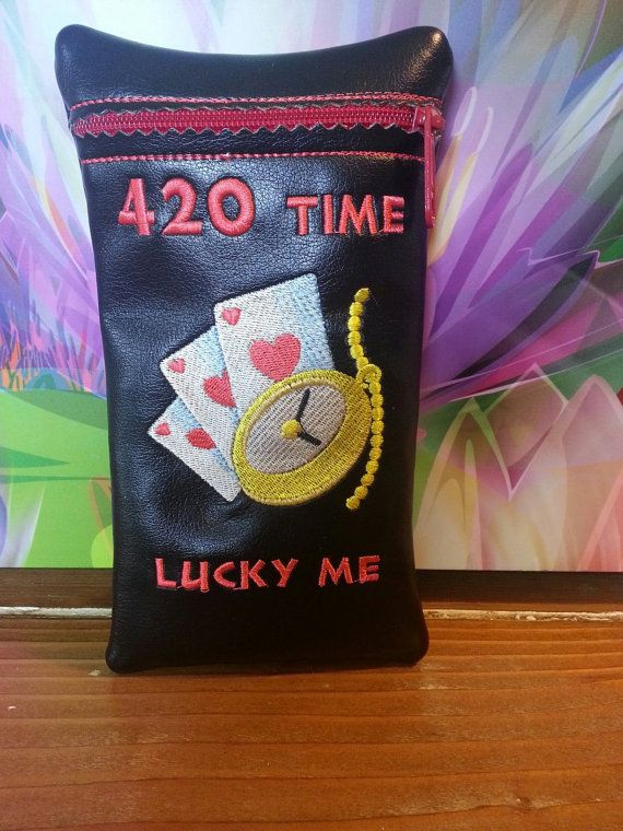 Custom glass pipe pouch Lucky me 420 by RedNeckRagsCreations, $14.00