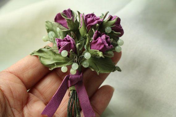 Цветы из кожи Брошь из кожи Букетик роз от Florissimo на Etsy