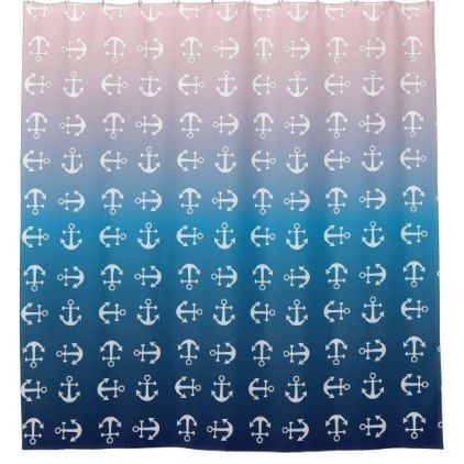 #Gradient blue pink | nautical anchor pattern shower curtain - #Bathroom #Accessories #home #living