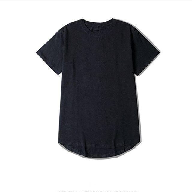 CHENXUAN NEW t-shirt men extended kanye t-shirt cotton swag mens t shirts skateboard tshirt solid hip hop T shirt men's tees top