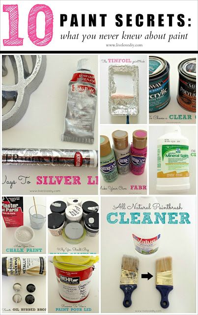 "AMAZING Painting Tips!!! ♥ For easy clean-up, cover paint tray with aluminum foil., Use a ""pour lid"" on paint cans. (I didn't even know they made such a thing! HA), Use 1/2 vinegar & 1/2 hot water to clean your paint brushes., How to make chalk paint! :), How to choose a clear coat., Mix ""fabric textile medium"" with any color of acrylic paint and it's instantly fabric paint! :) 