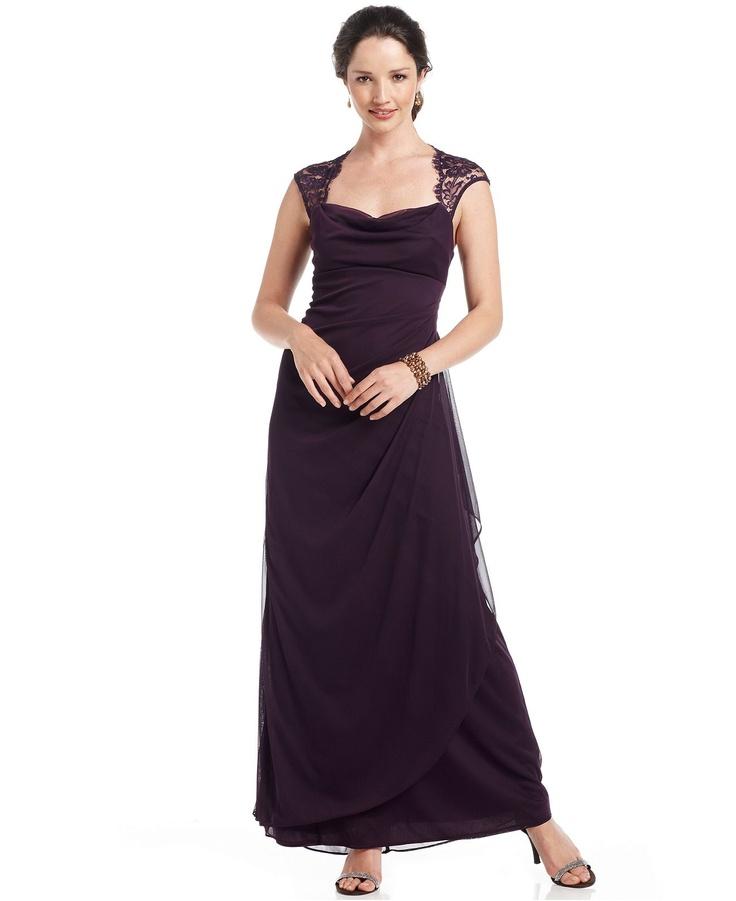 Xscape Dress, Cap Sleeve Lace Draped Shawl - Womens ...