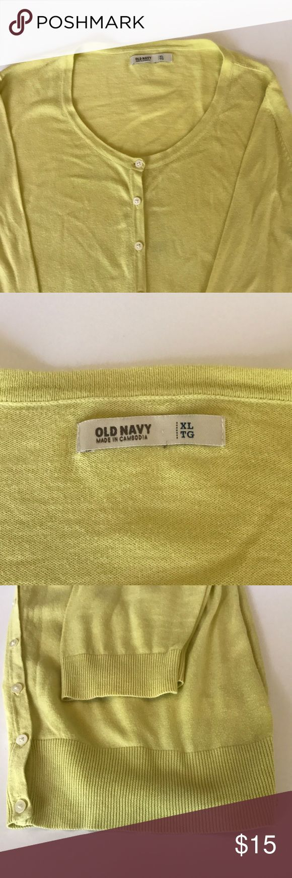 Canary yellow 3/4 sleeves cardigan Yellow cardigan, 3/4 sleeve, light material. Old Navy, size XL. Great condition, no issues. Awesome for this cooler weather coming. Pet and smoke free home Merona Sweaters Cardigans