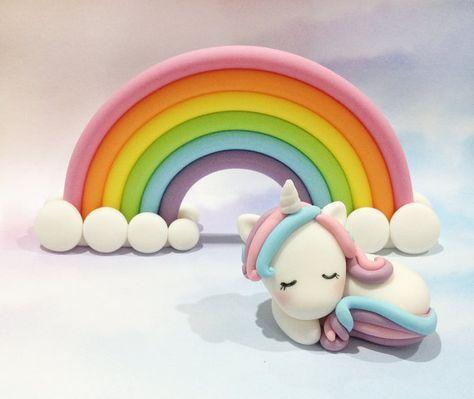Fondant Rainbow and Unicorn Cake Topper Set 1 by CathCakeToppers
