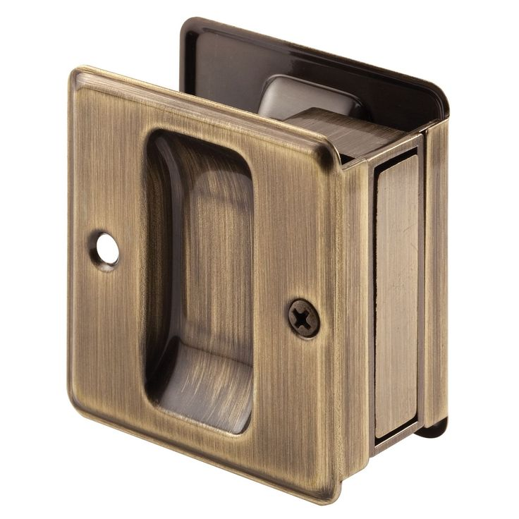 "Prime Line N7080 1-3/8"" Antique Brass Pocket Door Latch & Pull"