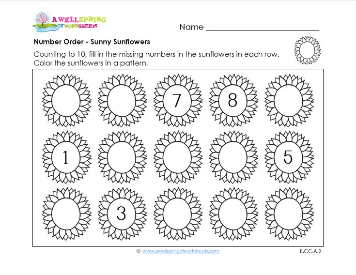 Number Order: In these worksheets kids fill in the missing numbers in the correct number order, but they don't all start with one. Then the coloring fun begins! Color in a pattern. :)