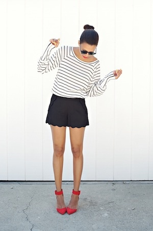 Scalloped shorts & bright red heels