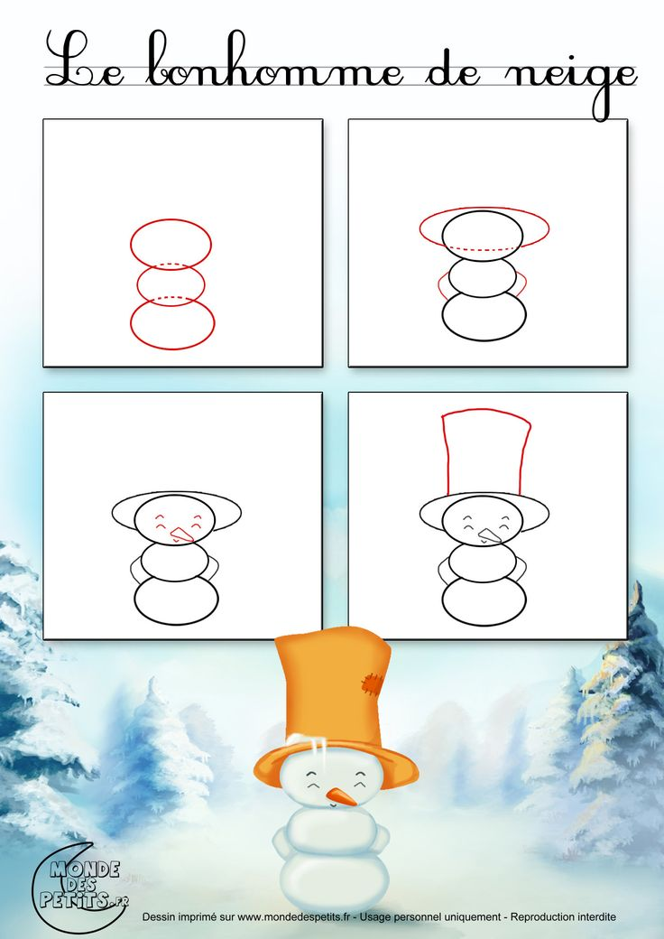 Dessin1_Comment dessiner un bonhomme de neige ?