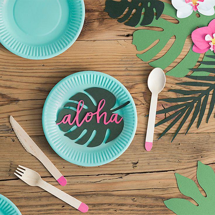 Tischdeko tropische Blätter 6er Set