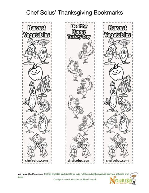 bookmark thanksgiving coloring page for kids - Nutrition Coloring Pages Kids