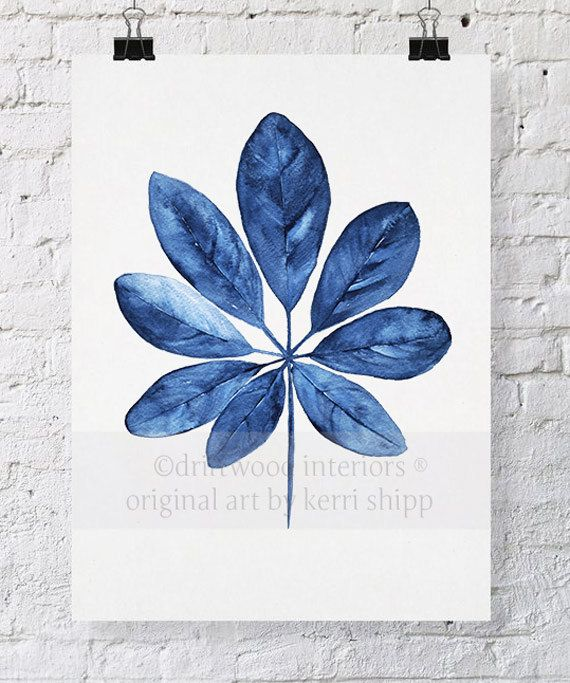 Feuille tropique Wall Art aquarelle impression 11 x 14 - bleu palmier sticker - aquarelle Art Print - Giclee Print