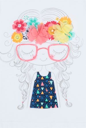 Sweet girl character illustration. Love the flowers in her hair