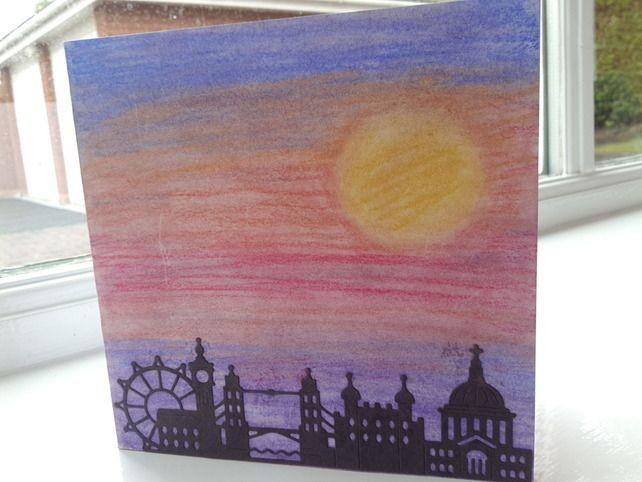Sunset over London skyline card