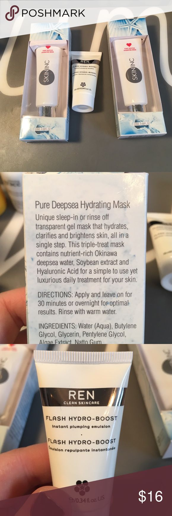 Skin Inc. hydrating mask and Ren moisturizer- new Pure deepsea hydrating masks and Ren flash hydro boost. New. Masks retail for $20 EACH. Makeup