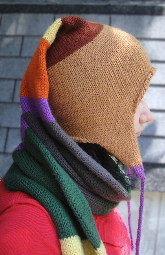 Doctor Who Knitted Stocking Cap Wibbly Wobbly Hat Scarf Combination