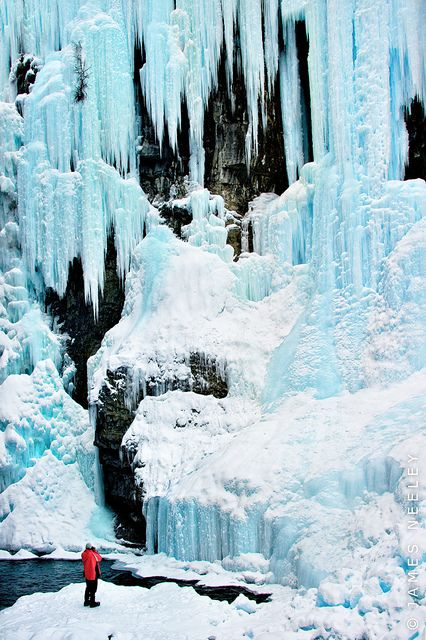 Frozen upper falls in Johnston Canyon, Banff National Park, Canada