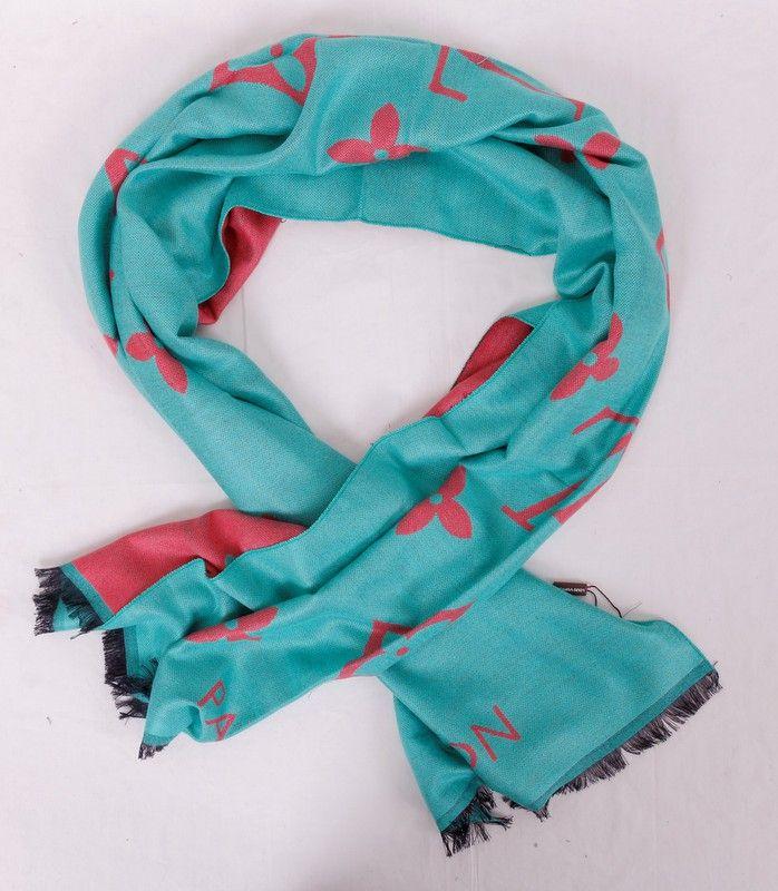 Длинный тёплый шарф Louis Vuitton (шерсть и шелк), цвет бирюзовый с розовым. Размер 180x65cm #19985