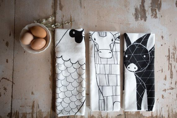 Tea Towel Bundle, 3 Barnyard Tea Towels, Printed with Eco Friendly Inks Add a touch of outside into your kitchen!
