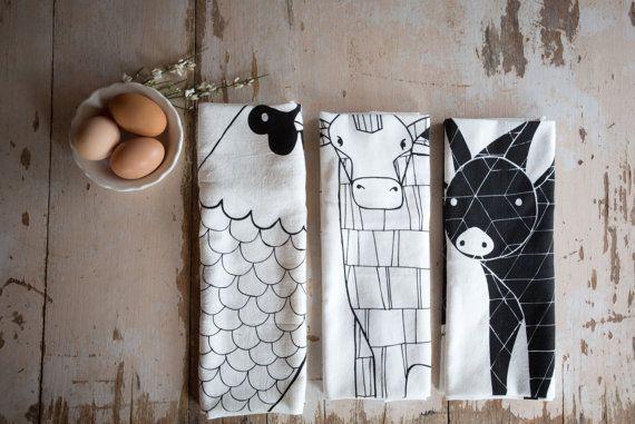 Tea Towel Bundle, 3 Barnyard Tea Towels, Printed with Eco Friendly Inks