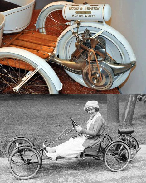 """Powered wheel to be attached to any non-motor vehicle (like a bicycle). Here shown on a custom-made """"car""""."""