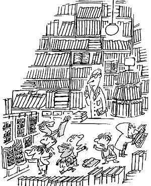 le petit nicolas in der bibliothek.