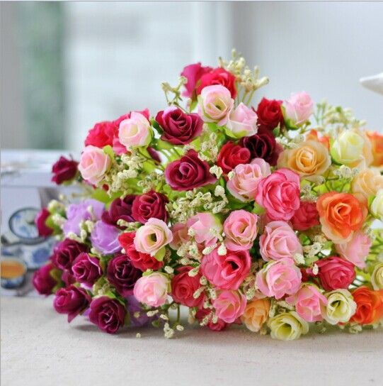 Find More Decorative Flowers & Wreaths Information about 1Pc 18 head Beautiful Little Roses Wedding Bouquet Artificial Flowers,High Quality flower fruit bouquet,China flower names for pets Suppliers, Cheap flower wedding bouquet from Shenzhen Tostartla Industrial Co., Ltd. on Aliexpress.com