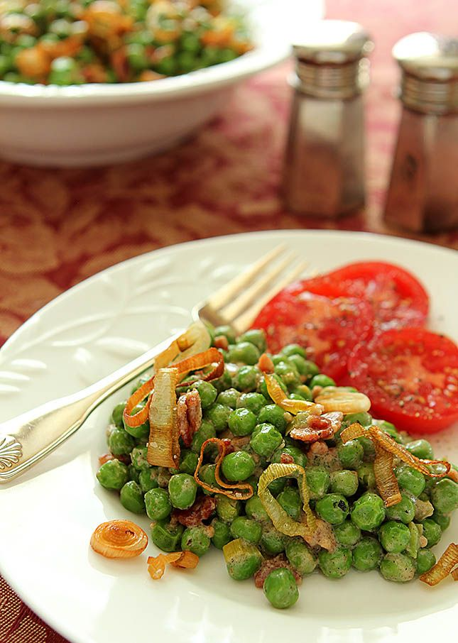 Peas with Bacon and Crispy Leeks from @creativculinary
