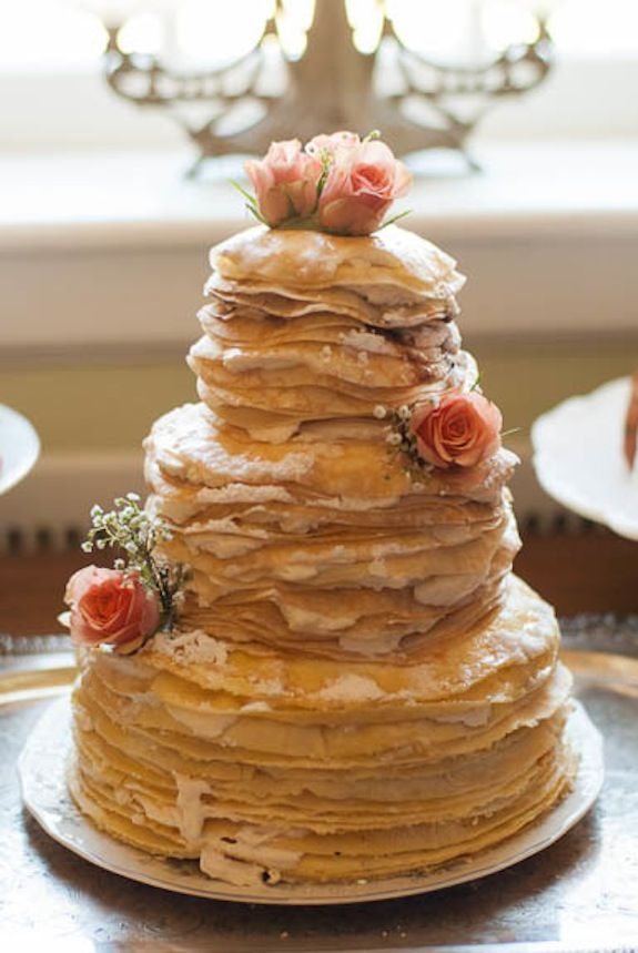 Unique wedding cake alternative - a crepe cake! From a garden, brunch inspired elopement styled shoot. Images by Caitlin Gerres Photography. Cake by Sweet Emma Lou.