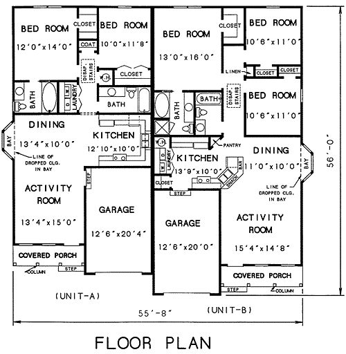 Duplex Plan Chp 18445 At House Plans
