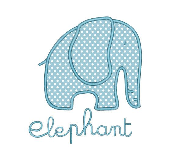 Elephant Applique Machine Embroidery Design Instant