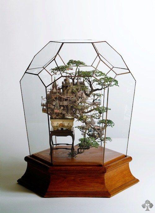 "♥!   Bonsai treehouses / dioramas by Takanori Aiba -- A truly stunning creation, combining a miniature city and a Bonsai tree into a ""Bonsai Diorama""."