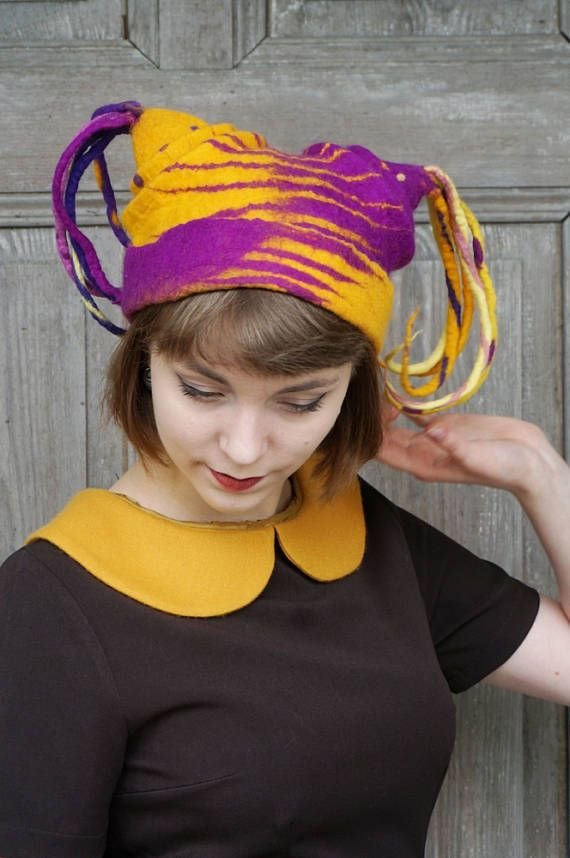 Hand felted designer hat, purple and yellow harlequin headdress, bohemian fashion, funky and unusual! Beautiful and unique felted hat , one of a kind, decorated with colorful wool dreadlocks. I made it wet felt technique of merino wool. Light and elegant wearable art for unusual person! This original hat will be a great accessory to your summer festival outfit or unique headdress in any season of the year!  Head circumference - ca 54 - 56 cm (21 - 22 inches)